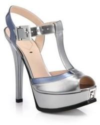 Fendi Two Tone Metallic Leather Sandals