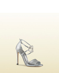 Gucci Gg Sparkling Metallic Leather Sandal