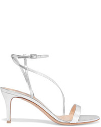 Gianvito Rossi Metallic Leather Sandals Silver
