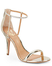 Ginny Metallic Leather Embellished Strap Sandals