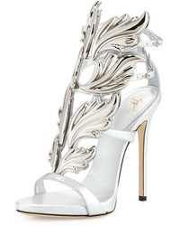 Giuseppe Zanotti Coline Wings Leather 110mm Sandal Argento