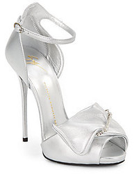 Giuseppe Zanotti Safety Pin Metallic Leather Sandals