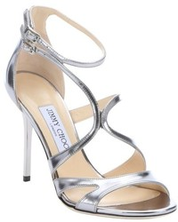 Jimmy Choo Gold Mirrored Leather Furrow Strappy Sandals