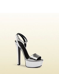 Gucci Metallic Leather Platform Sandal