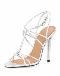 Halston Heritage Anita Strappy Metallic Leather Sandal Mirror Silver