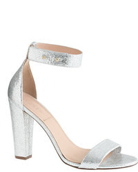J.Crew Lanie Crackled Metallic Leather Stacked Heel Sandals
