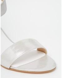 2f7426a04b2 ... Dune Joye Silver Leather Kitten Heel Sandals ...