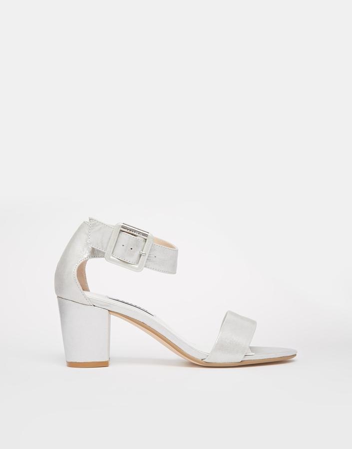 ec6b24e7f9c $125, Dune Joye Silver Leather Kitten Heel Sandals