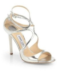 Jimmy Choo Lang 100 Strappy Mirror Leather Sandals