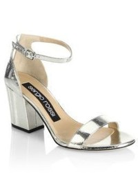 Sergio Rossi Leah Leather Metallic Block Heel Sandals
