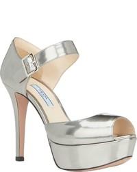 51ef252e2450 ... Prada Leather Ankle Strap Platform Sandals Silver