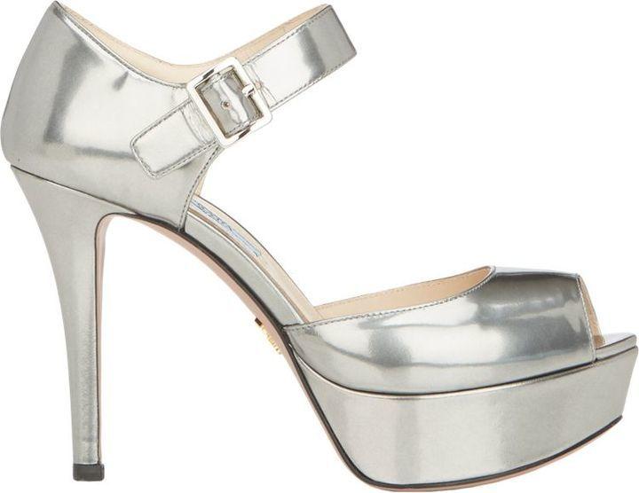 5f678da19de8 ... Prada Leather Ankle Strap Platform Sandals Silver ...
