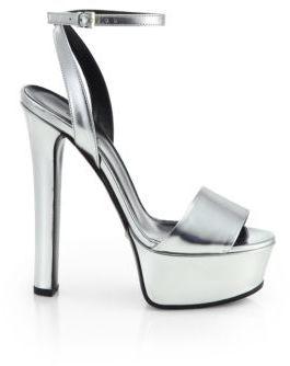 752042f70 ... Silver Leather Heeled Sandals Gucci Leila Metallic Leather Platform  Sandals ...
