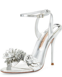 Sophia Webster Lilico Floral Leather 105mm Sandal Silver