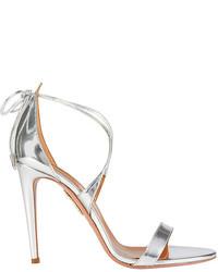Aquazzura Linda Mirrored Leather Sandals