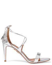 Aquazzura Linda Mirrored Leather Sandals Silver