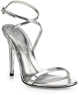 1ad1f44560 ... Silver Leather Heeled Sandals Tamara Mellon Lipstick Metallic Leather Strappy  Sandals ...