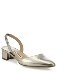 Manolo Blahnik Aspro Patent Metallic Leather Block Heel Slingbacks