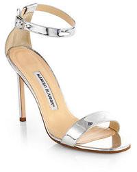 Manolo Blahnik Chaos Holo Metallic Leather Ankle Strap Sandals
