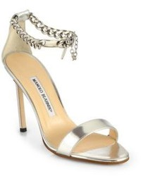 Manolo Blahnik Chaos Metallic Leather Ankle Chain Sandals