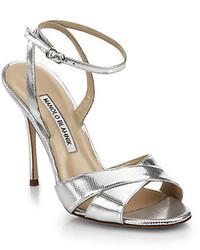 Manolo Blahnik Orlana Metallic Leather Ankle Strap Sandals