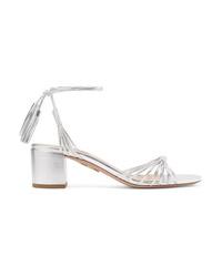 Aquazzura Mescal 50 Metallic Leather Sandals