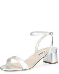 Miu Miu Metallic Block Heel Sandal Silver