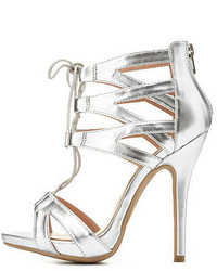 Charlotte Russe Metallic Caged Cut Out Lace Up Heels
