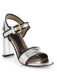 Marni Metallic Leather Ankle Strap Sandals