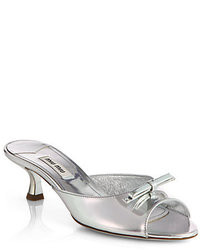 Miu Miu Metallic Leather Bow Slides