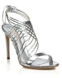 Casadei Metallic Leather Crisscross Sandals