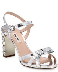 Miu Miu Metallic Leather Crystal Heel Sandals