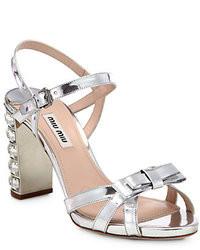 Miu Miu Metallic Leather Crystal Heel Sandals