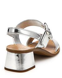 f14849024f8 ... Prada Metallic Leather Low Block Heeled Sandals
