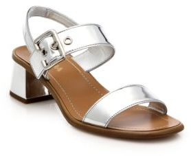 a7986bdae4cd ... Saks Fifth Avenue › Prada › Silver Leather Heeled Sandals Prada Metallic  Leather Low Block Heeled Sandals ...