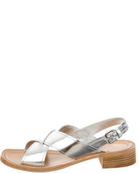 Prada Metallic Leather Slingback Sandals W Tags