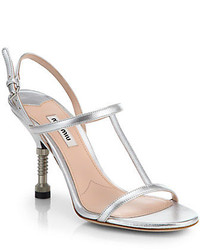 Miu Miu Metallic Leather T Strap Sandals