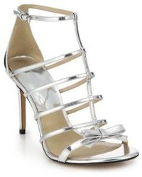 Michael Kors Michl Kors Blythe Metallic Leather Cage Sandals