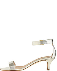 2d7cc03ead36 Mirror Metallic Kitten Heel Sandals. Silver Leather Heeled Sandals by J.Crew