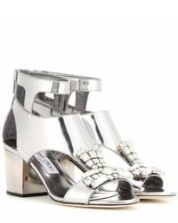 Jimmy Choo Morgan 65 Embellished Metallic Leather Sandals