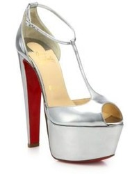 Christian Louboutin Nencheritza Metallic Leather T Strap Sandals