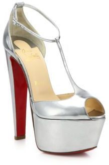 the best attitude 60851 01b80 $1,165, Christian Louboutin Nencheritza Metallic Leather T Strap Sandals