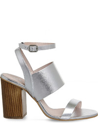Office Time 3 Strap Metallic Leather Heeled Sandals