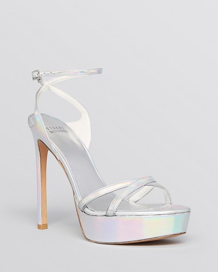 ... Stuart Weitzman Open Toe Platform Evening Sandals Bebare High Heel ...