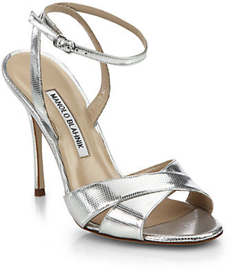 9aedf825c64 ... Silver Leather Heeled Sandals Manolo Blahnik Orlana Metallic Leather  Ankle Strap Sandals ...