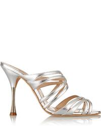 Oscar de la Renta Lilyana Metallic Leather Sandals