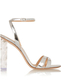 Gianvito Rossi Perspex Heeled Metallic Leather Sandals