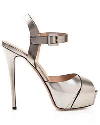 Le Silla Platform Sandals Metallic Saffiano High Heel