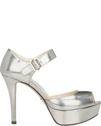 Prada Leather Ankle Strap Platform Sandals Silver