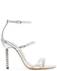 Sophia Webster Rosalind Crystal Embellished Metallic Leather Sandals Silver